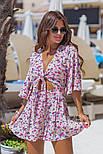 Женский стильный комбинезон-шорты с цветочным принтом ос завязкой (в расцветках), фото 4