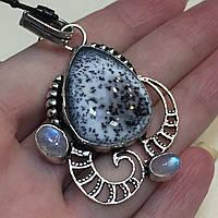 Дендритовый опал и лунный камень адуляр кулон с дендритовым опалом в серебре Индия, фото 1