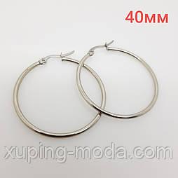Серьги кольца конго, среднего размера, под серебро