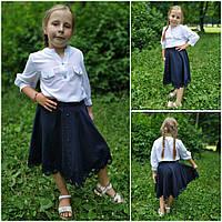 Подростковая юбка в школу украшена пуговицами и кружевом, рост 134-158 см., 350/310 (цена за 1 шт. + 40 гр.)
