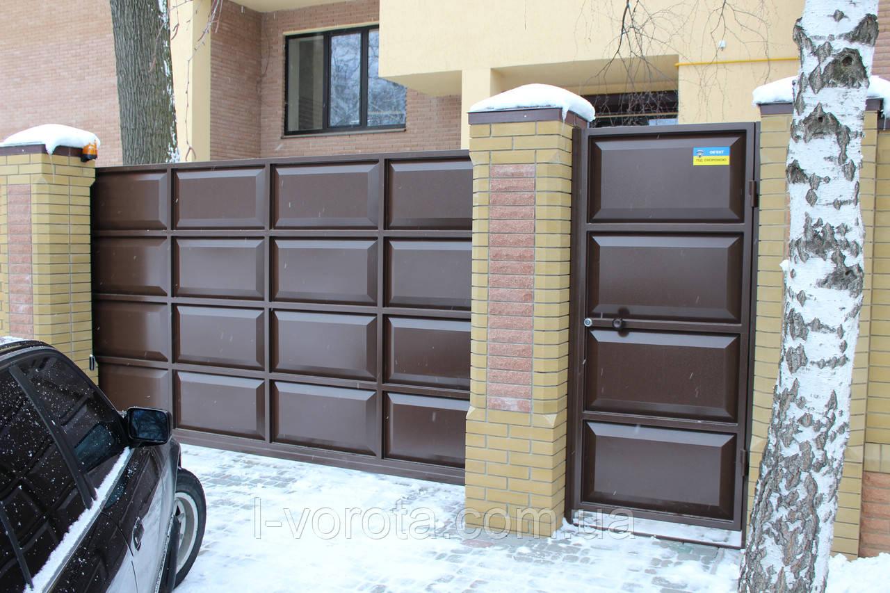Откатные филенчатые ворота ш4000, в2000 и калитка ш1000, в2000 (дизайн шоколадка)
