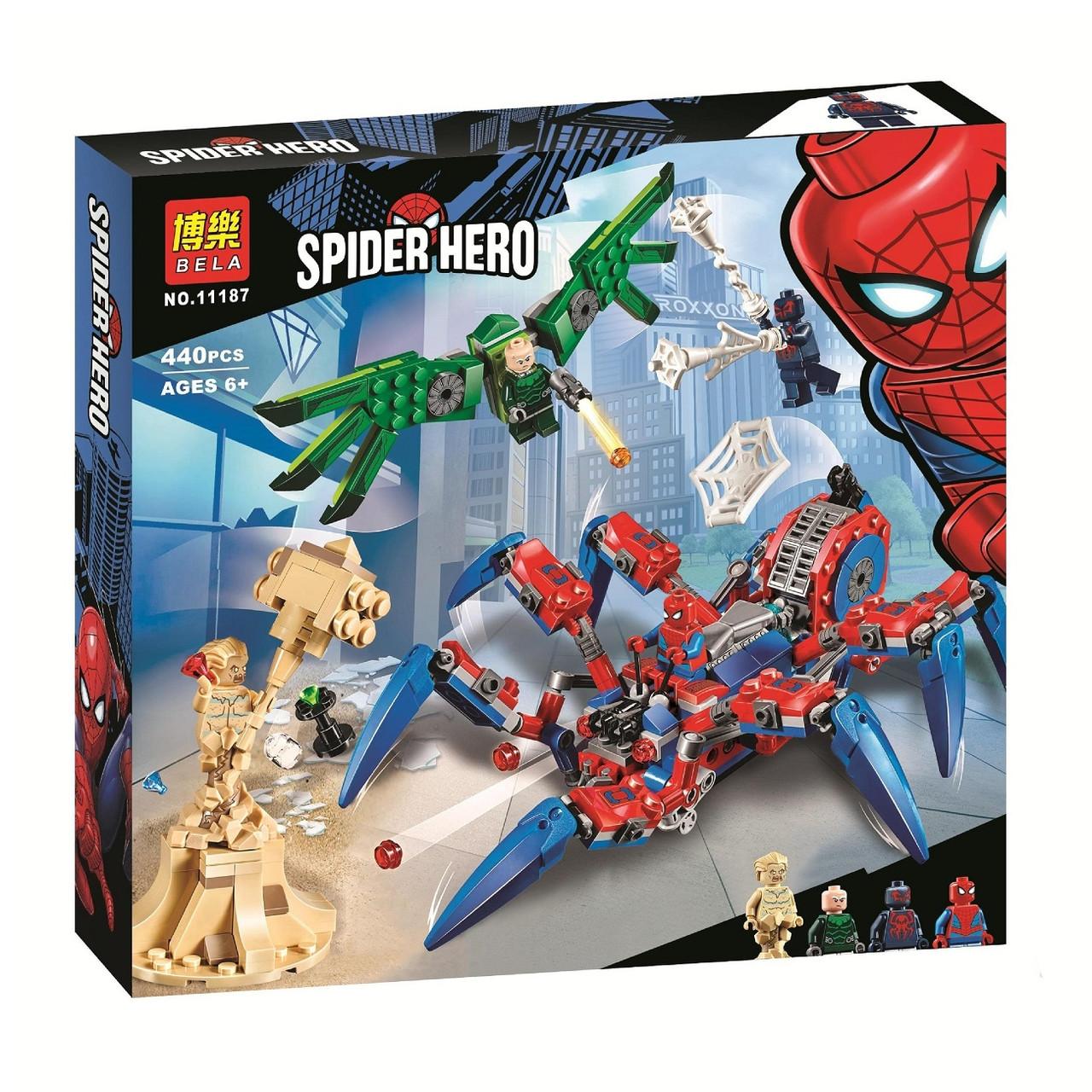 """Конструктор Spiderman Bela 11187 """"Вездеход Человека-Паука"""", 440 дет"""