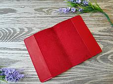 Обложка на паспорт красные цветы (полу матовая), фото 2