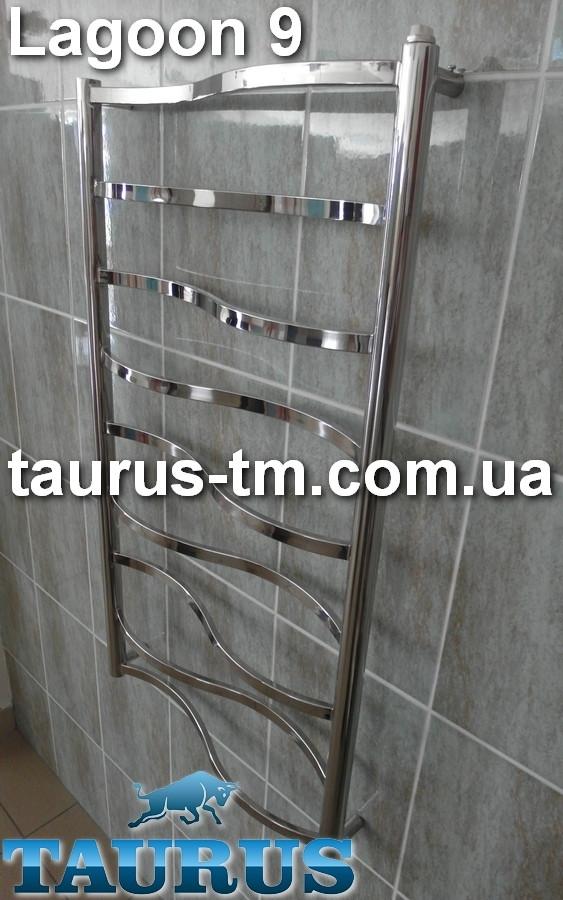 Узкий водяной, электрический, гибридный (комбинированный) полотенцесушитель Lagoon 9 /950х400 мм. от TAURUS
