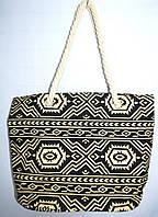 Женская пляжная текстильная сумка на плечо 37*32 см