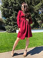 Платье женское свободного кроя, материал - костюмный креп, код G-101, бордовое