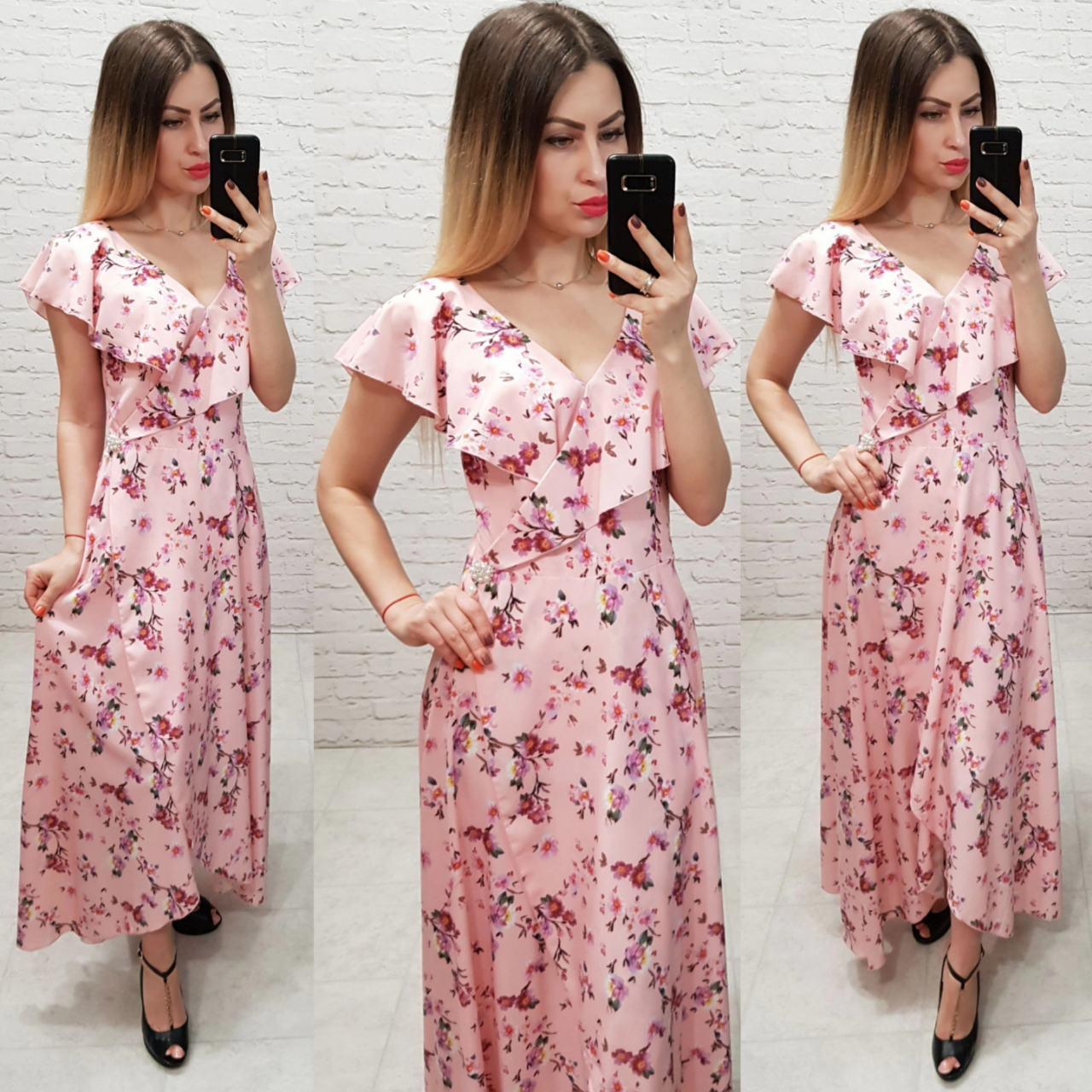 Длинное платье на запах ( арт. 111 ),  принт мелкий цветок на розовом
