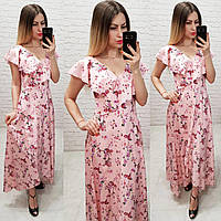 Длинное платье на запах ( арт. 111 ),  принт мелкий цветок на розовом, фото 1