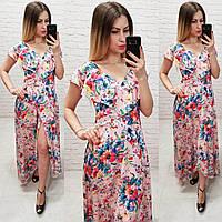 Длинное платье на запах ( арт. 111 ),  принт крупные цветы на розовом фоне