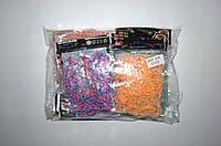 Резиночки для плетения Rainbow Loom 200шт. (разноцветные с белой прослойкой), фото 1