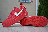 Жіночі кросівки в стилі Nike Air Force 1 Mid LV8, шкіра, червоні, фото 3