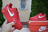 Жіночі кросівки в стилі Nike Air Force 1 Mid LV8, шкіра, червоні, фото 2