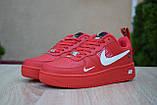 Жіночі кросівки в стилі Nike Air Force 1 Mid LV8, шкіра, червоні, фото 4