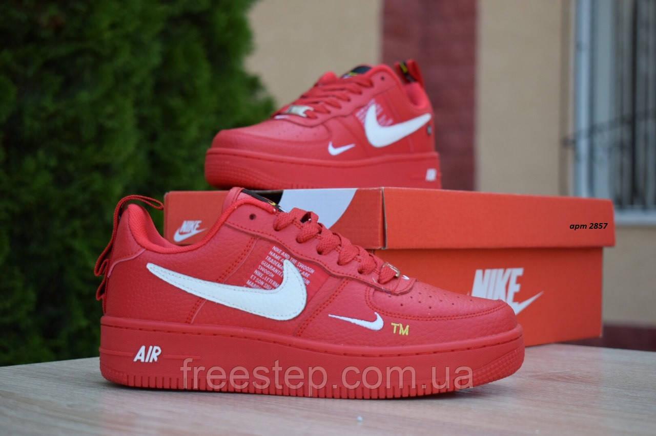 Жіночі кросівки в стилі Nike Air Force 1 Mid LV8, шкіра, червоні