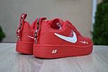 Жіночі кросівки в стилі Nike Air Force 1 Mid LV8, шкіра, червоні, фото 5
