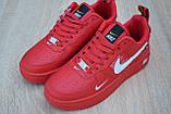 Жіночі кросівки в стилі Nike Air Force 1 Mid LV8, шкіра, червоні, фото 6