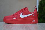 Жіночі кросівки в стилі Nike Air Force 1 Mid LV8, шкіра, червоні, фото 7