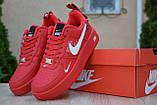 Жіночі кросівки в стилі Nike Air Force 1 Mid LV8, шкіра, червоні, фото 8