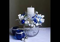 Новогодний, рождественский, подсвечник бело-синий