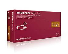 Резиновые перчатки неопудренные Ambulance high risk XL