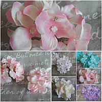 Соцветие розовой гортензии, текстиль, диам. головы 10-11 см., диам. цветка 5 см., 12/10 (цена за 1 шт. + 2 гр), фото 1