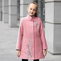 Элегантное кашемировое пальто для девочки с поясом «Сакура»
