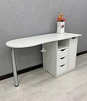 Правосторонний маникюрный складной стол с тумбой и ящиком карго V490