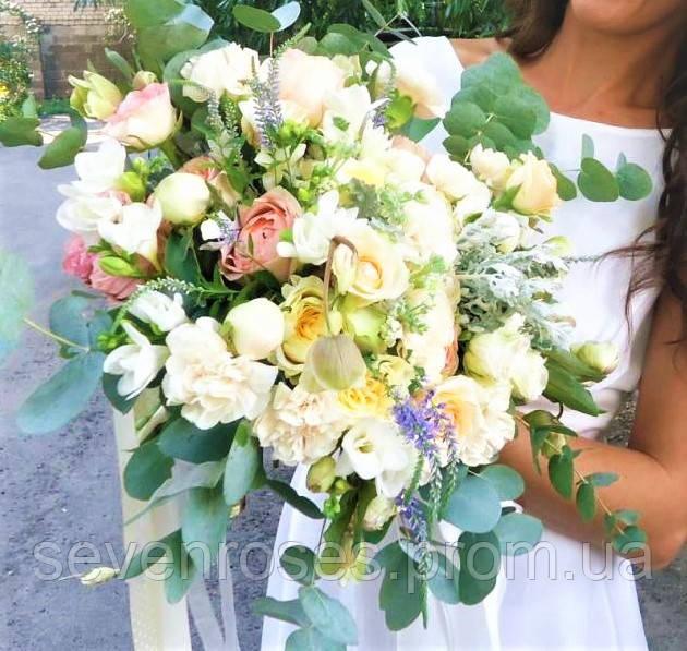 Букет невесты №2 с пионами, розами микс