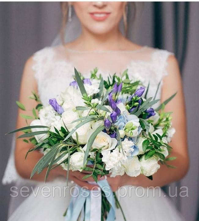 Свадебный  букет № 3 бело-голубой с гентианой и гортензией