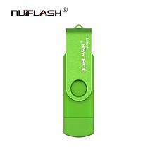 USB OTG флешка Nuiflash 64 Gb micro USB Цвет Зелёный ОТГ для телефона и компьютера