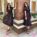 Женское платье с имитацией запаха в длине миди с поясом (в расцветках), фото 3