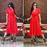 Женское платье с имитацией запаха в длине миди с поясом (в расцветках), фото 2