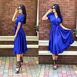 Женское платье с имитацией запаха в длине миди с поясом (в расцветках), фото 4