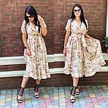 Женское платье с имитацией запаха в длине миди с поясом (в расцветках), фото 7
