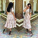 Женское платье с имитацией запаха в длине миди с поясом (в расцветках), фото 9