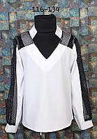 Блузка со вставкой сетки, р. 116-134, белый +черный , фото 1
