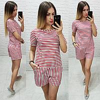 Костюм блуза + шорты в морском стиле арт. 169 белая / красная полоса