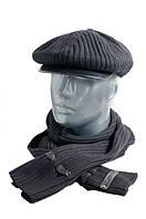 Мужская кепка из трикотажа с кожаным козырьком