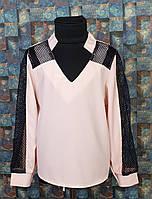 Блузка со вставкой сетки, р. 116-134, персиковый+черный , фото 1