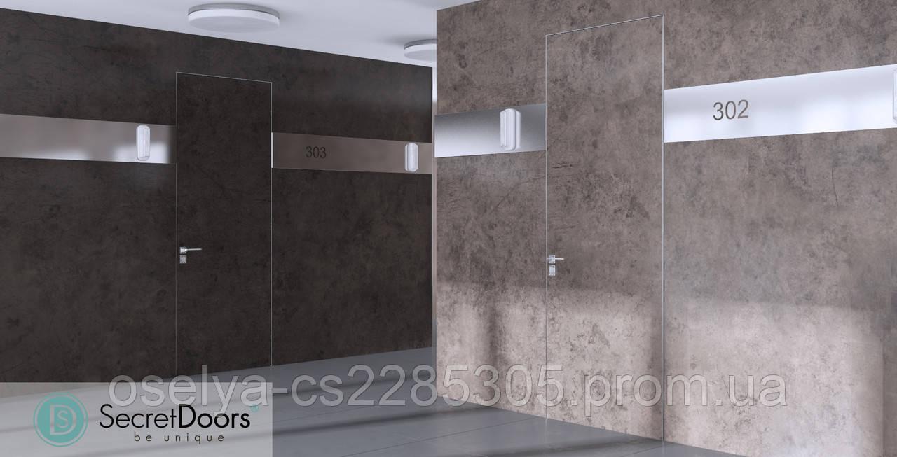 Дверь скрытого монтажа SecretDoors HPL камень 800x2100х45 мм