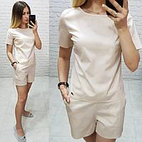 Костюм блуза + шорты коттон арт. 169 бежевый / бежевого цвета
