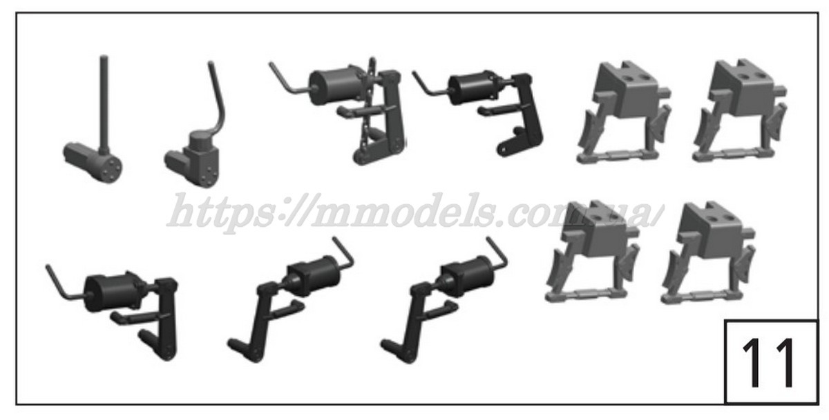 Roco 136203 / комплект тормозных цилиндров на тележку тепловоза Roco 72785 ЧМЭ3-070 СЖД Н0 / 1:87