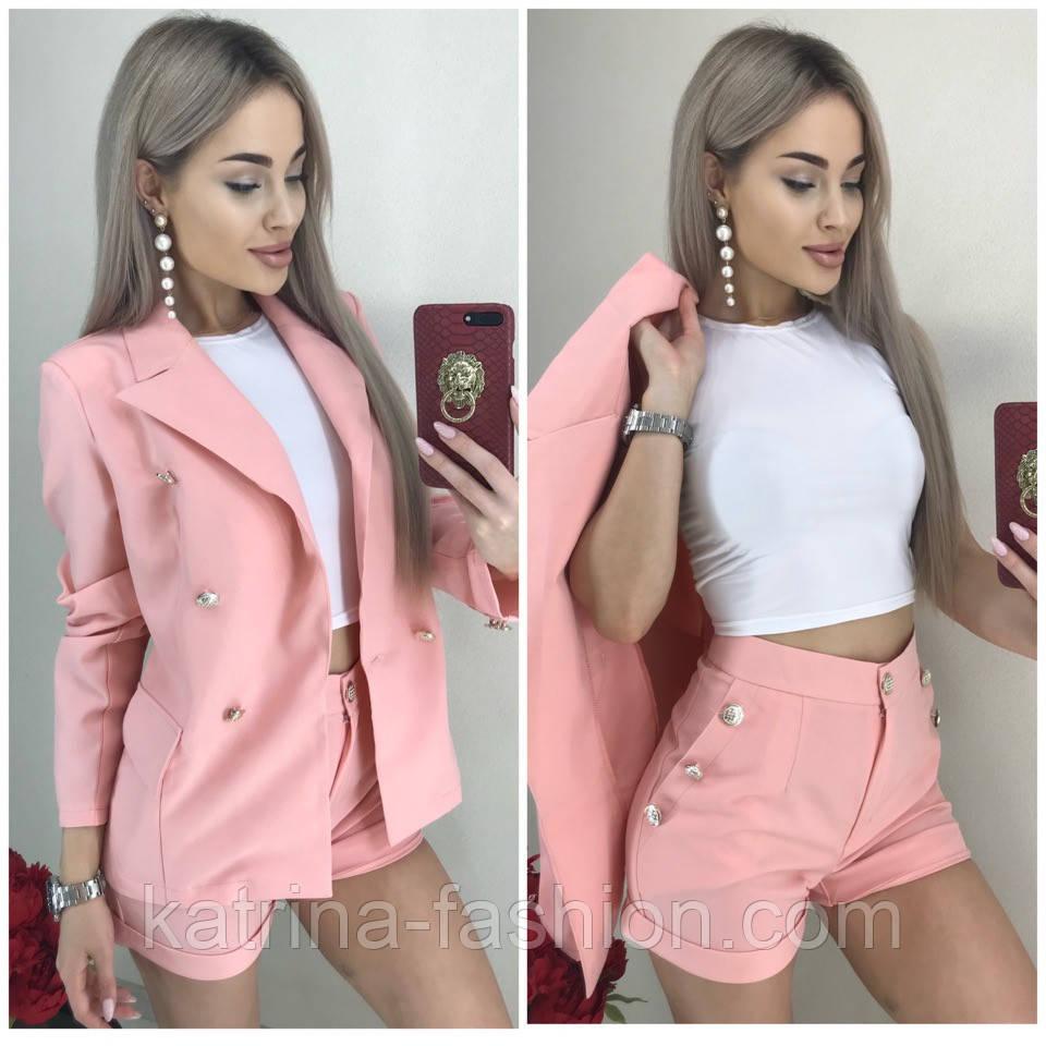 Женский костюм-тройка: жакет, шорты и топ (в расцветках)