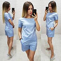 Костюм блуза + шорты коттон арт. 169 голубой / голубого цвета