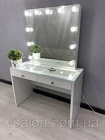 Гримерный стол белый с витриной на столешнице V496
