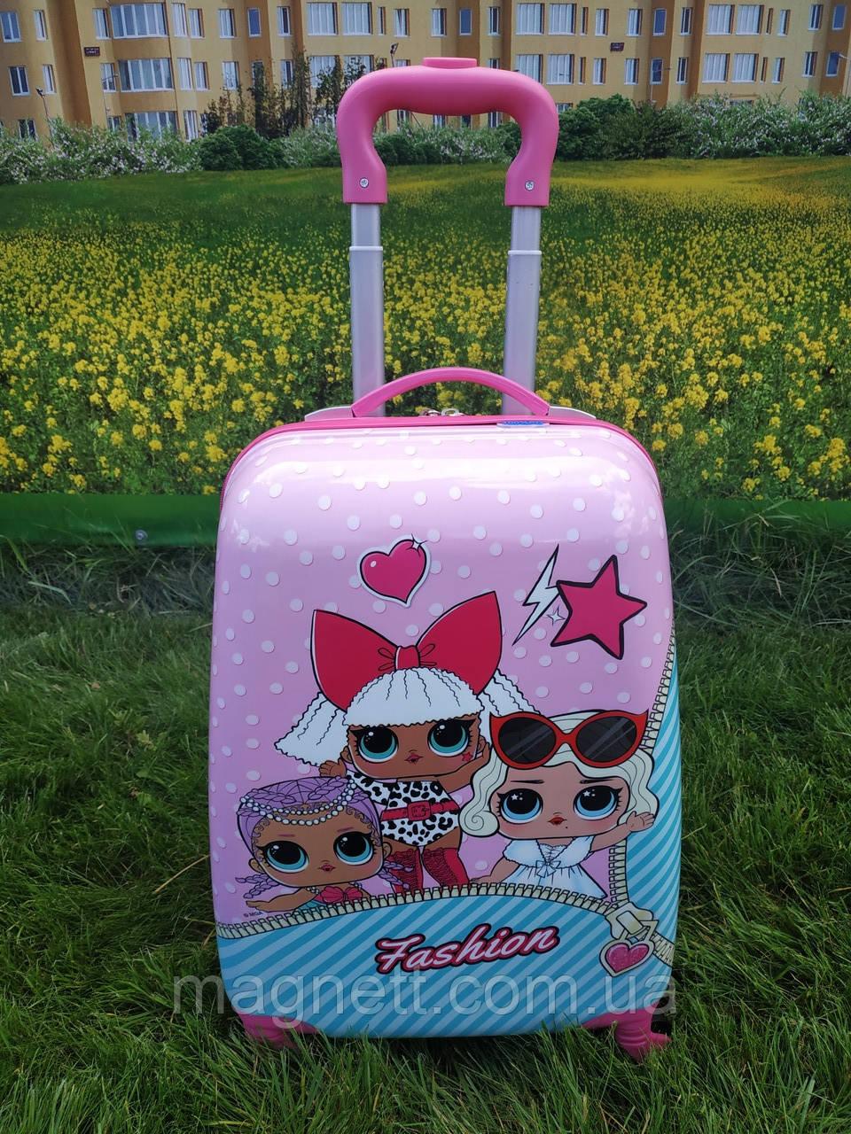 "Дитяча валіза на 4 колесах для дівчинки ""Лялька LOL"" 45*31*21 (3 лялечки)"