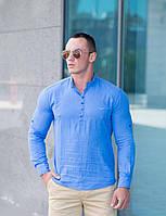 Летняя рубашка для мужчин  хлопковая ярко-голубая
