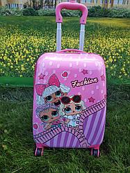 "Детский чемодан на 4 колесах для девочки ""Кукла LOL"" 45*31*21 (3 куколки)"