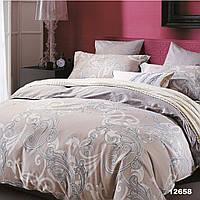 Евро постельное белье в бежевом цвете Viluta с ранфорса