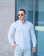 Мужская рубашка лето хлопковая свободная бледно-голубая